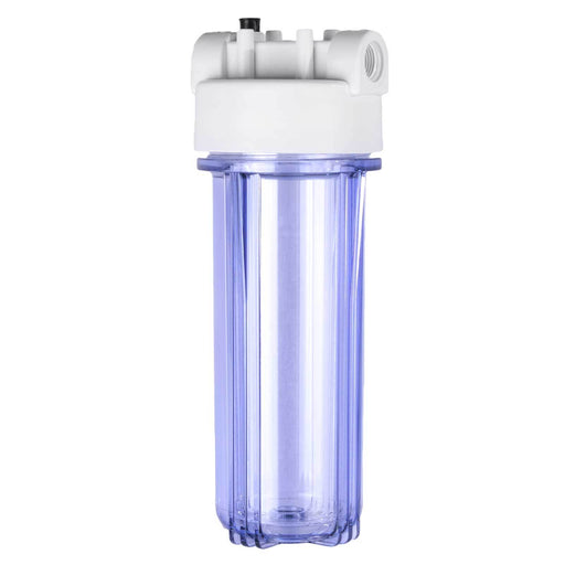 "Clear 2.5"" x 10"" Filter Housing and Pressure Release Female Cap with 3/4"" Inlet & Outlet"