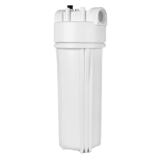 "White 2.5"" X 10"" Filter Housing & Female Pressure Release Cap with 1/2"" Inlet & Outlet"