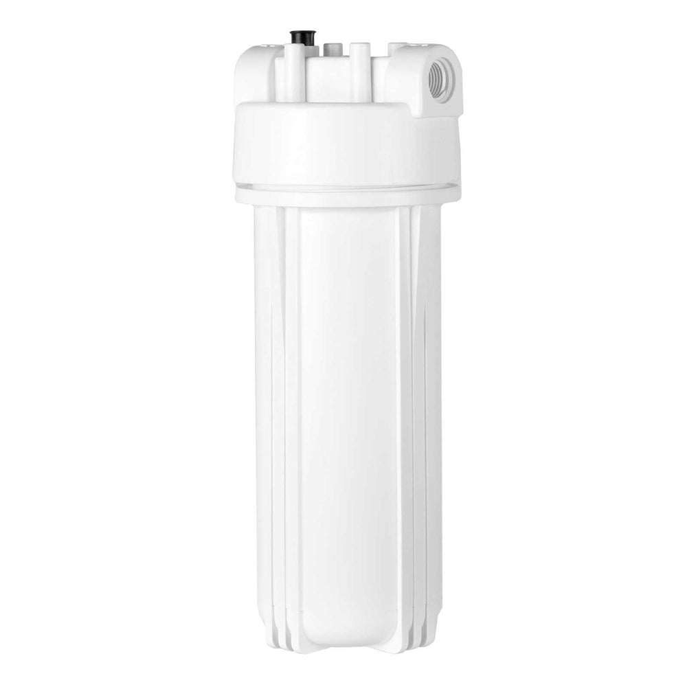 "White Filter Housing and Male Cap with 1/4"" Inlet & Outlet, 2.5"" X 10"""