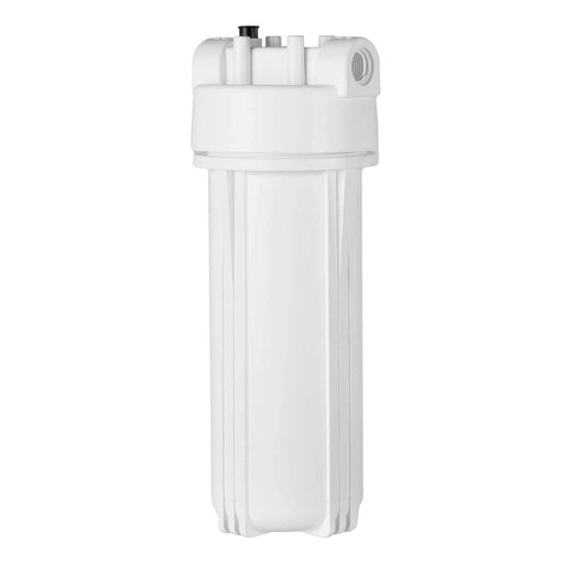 "White 2.5"" X 10"" Filter Housing and Pressure Release Female Cap with 3/4"" Inlet & Outlet"