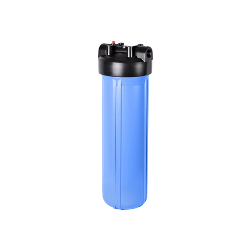 "Big Blue 4.5"" X 20"" Filter Housing and Pressure Release Cap with 1"" Inlet & Outlet"