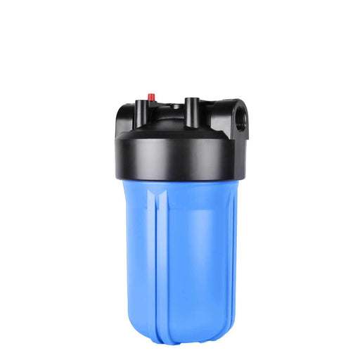 "Big Blue 4.5"" X 10"" Filter Housing & Pressure Release Female Cap with 1"" Inlet & Outlet"