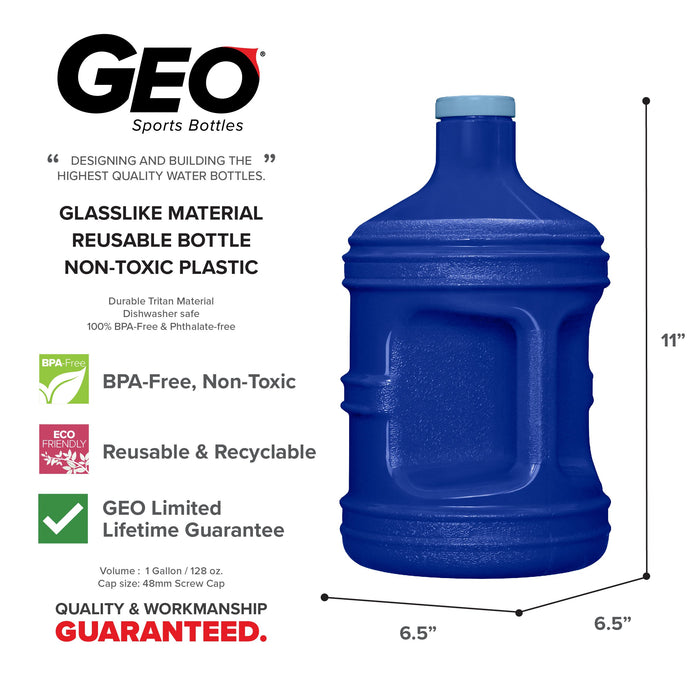 BPA Free PET 1 Gallon Water Bottle, Plastic Bottle, Sports Bottle, with Screw Cap, GEO