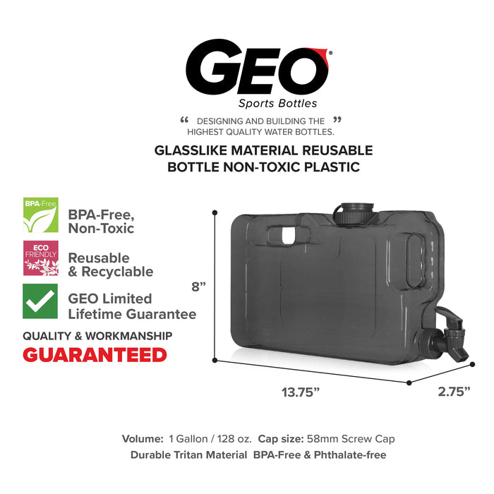 1 Gallon, BPA Free Beverage Dispenser, Plastic Bottle, GEO