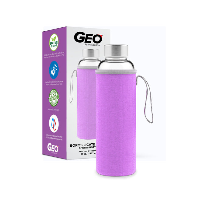 18 Ounce Glass Water Bottle, Sports Bottle, with Protective Sleeve, GEO