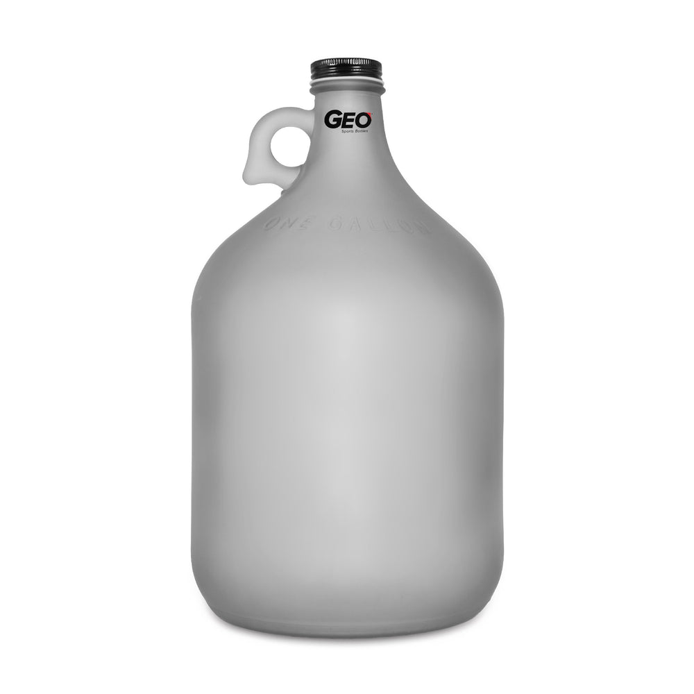 1 Gallon Frosted Glass Bottle, Water Bottle, with Screw Cap, GEO