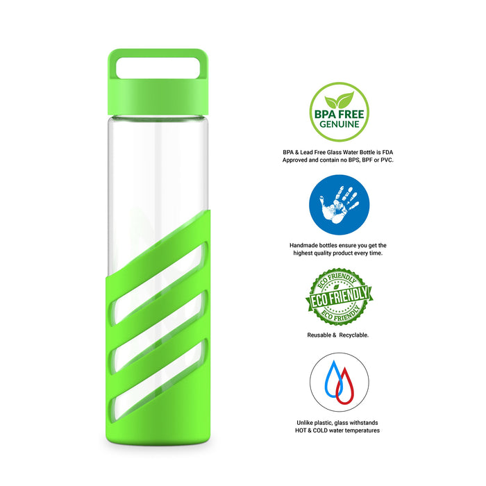 24 Ounce Glass Water Bottle, Sports Bottle, with Striped Cover Sleeve, GEO