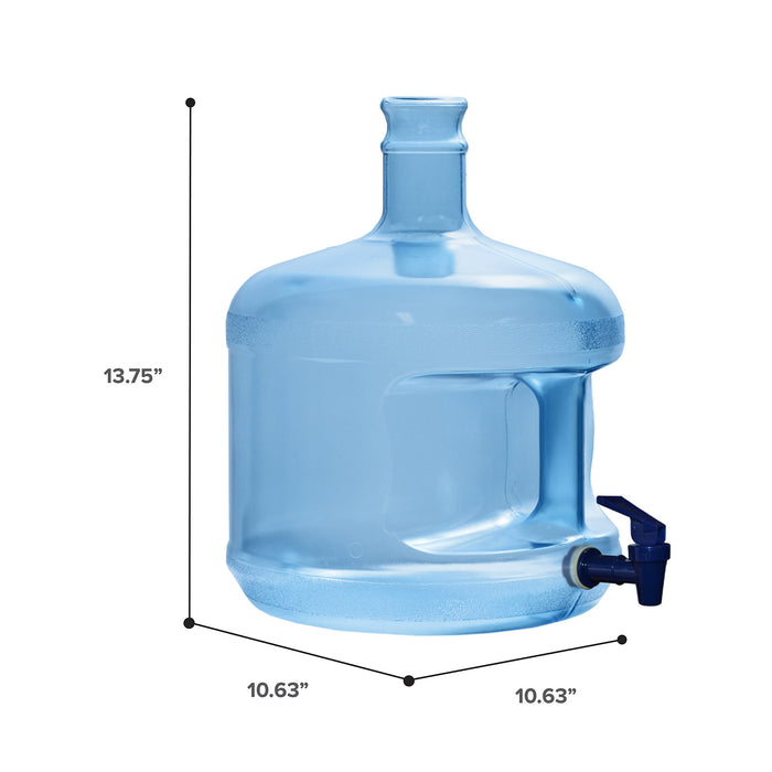 3 Gallon Polycarbonate Plastic Reusable Water Bottle with Crown Cap and Valve
