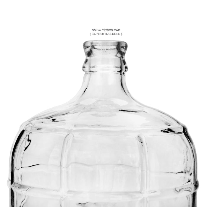 Glass Bottle, Carboy Bottle, with Crown Top Cap, Geo