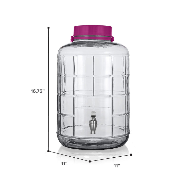 5 Gallon Glass Beverage Dispenser, with Chrome Valve, Handle, and Cap