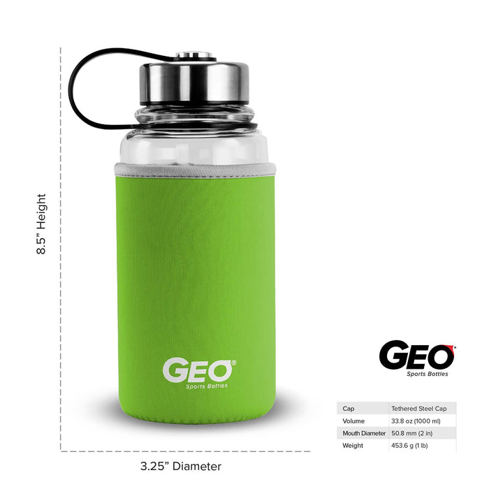 1 Liter Glass Water Bottle, Sports Bottle, with 65 mm Steel Cap and Protective Sleeve, GEO