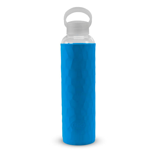 20 Ounce Glass Water Bottle, Sports Bottle, with 40 mm Plastic Cap and Protective Sleeve, GEO