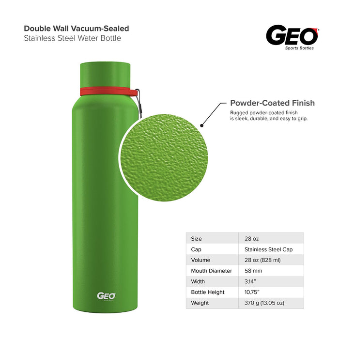 28 Ounce Stainless Steel Water Bottle, Powdered Sports Bottle, with 58 mm Cap and Carrying Strap, GEO