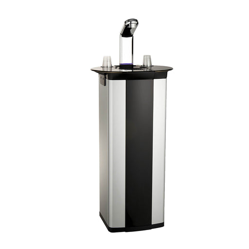 Hot Cold and Room Temp Filtered Industrial Freestanding Water Dispenser Cooler POU, Tri Temp, Black and Stainless Steel, Brio Premiere