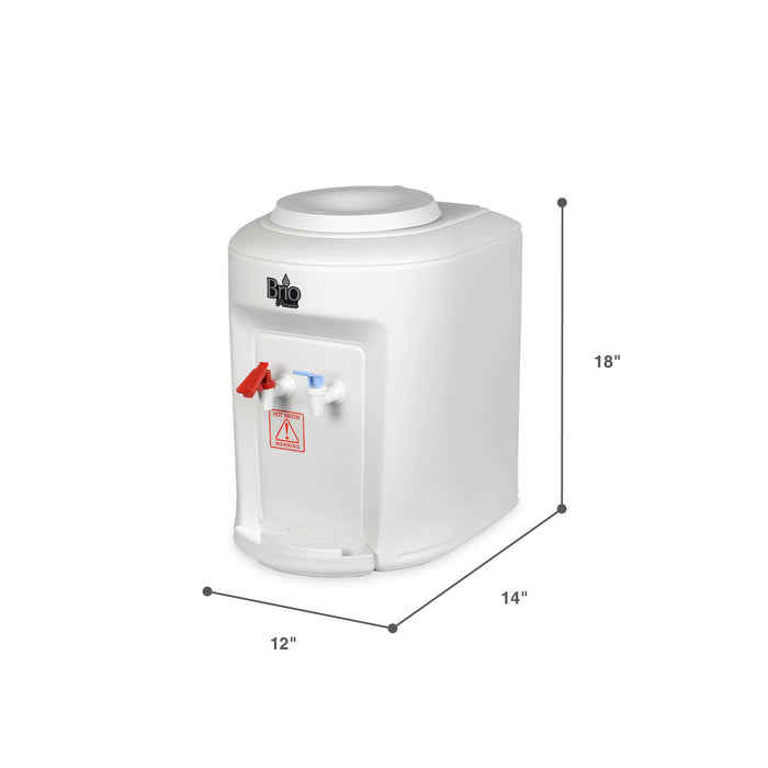 Hot and Cold Countertop Water Dispenser Cooler Top Load, White, Brio Premiere