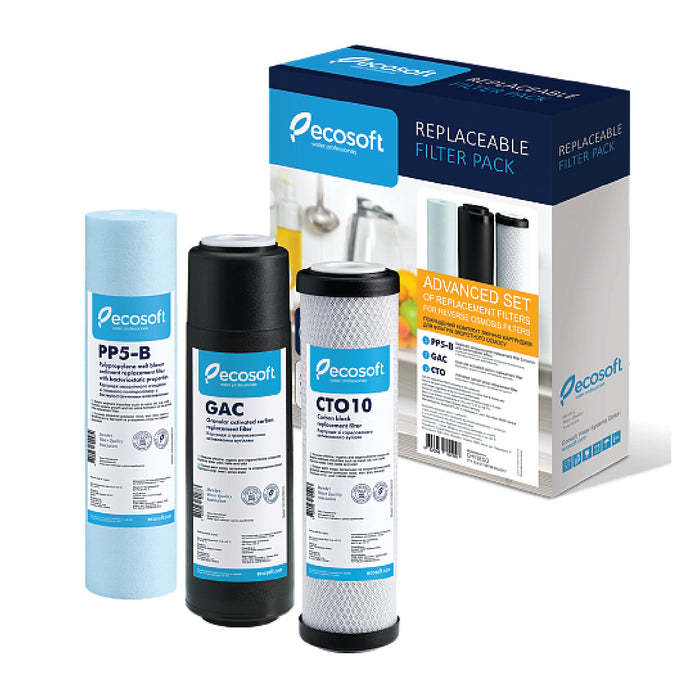 Ecosoft Set of Improved Replacement Filters (Stages 1-2-3)  for Reverse Osmosis Filter Systems