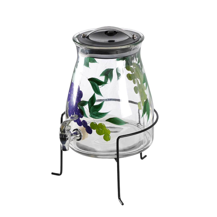 2 Gallon Glass Beverage Dispenser with Grape Leaves Design, with Stand and Lid