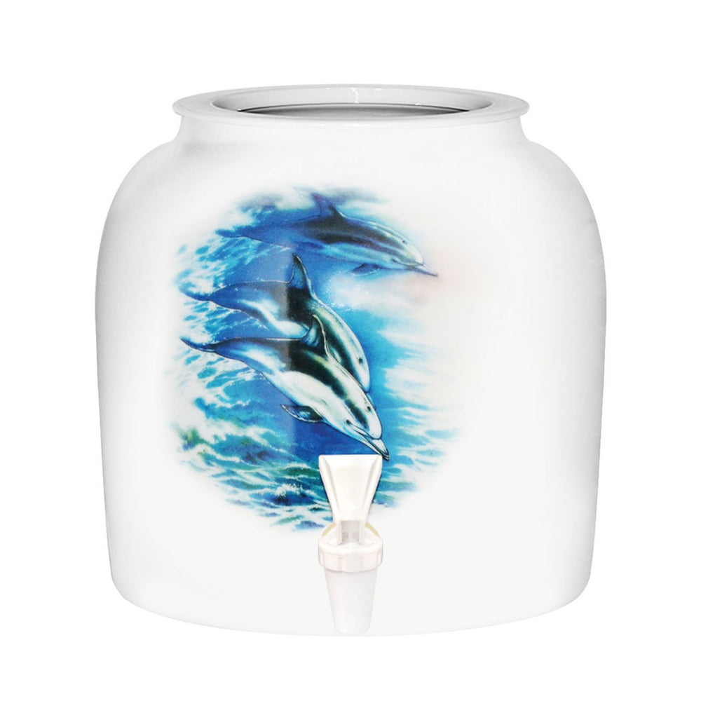 Porcelain Water Crock with Blue Dolphins