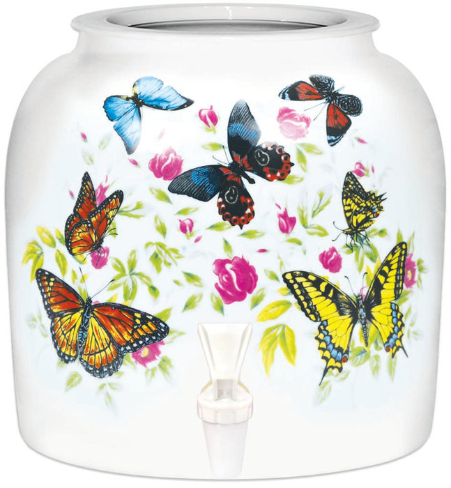 Porcelain Water Crock with Butterfly Design