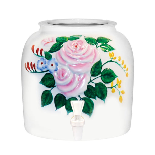 Embossed Pink Roses Porcelain Water Crock