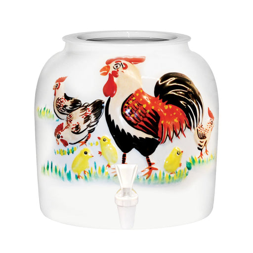 Embossed Rooster Porcelain Water Crock