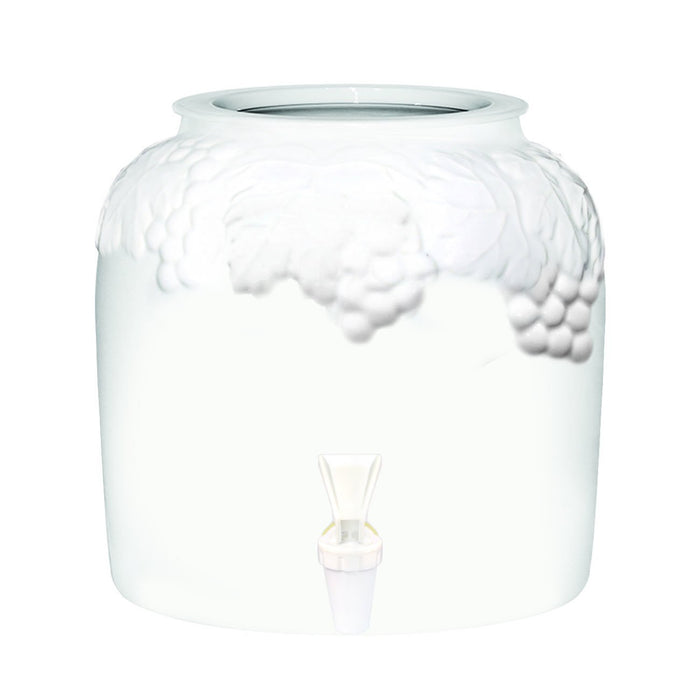 White Grape Band Porcelain Water Crock