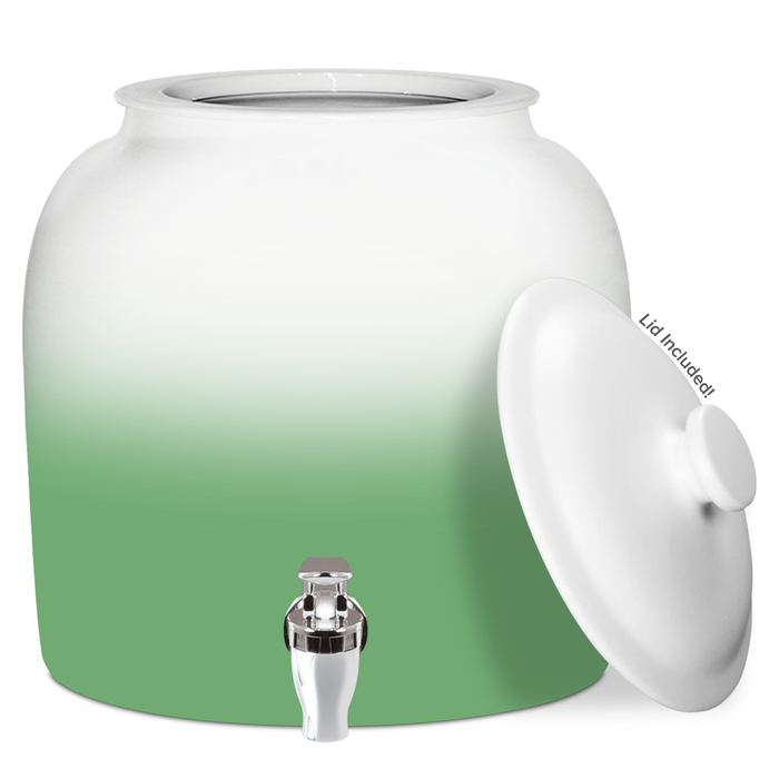 Gradient Porcelain Water Crock with Chrome Faucet