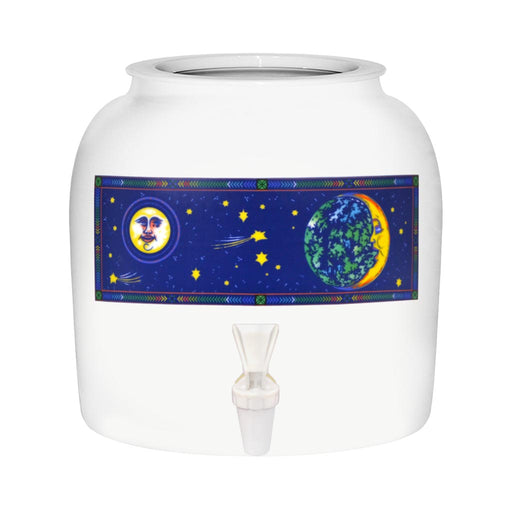 Porcelain Water Crock with Moon Design