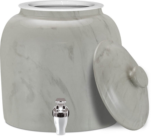 Brio Classic Marble White Ceramic Water Crock w/ Matching Lid