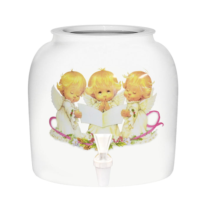 3 Baby Singing Angels Porcelain Water Crock