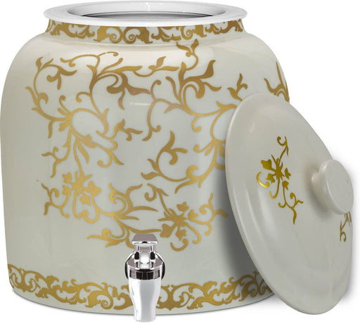 Brio Antique Gold Ornaments Crock w/Lid & Faucet
