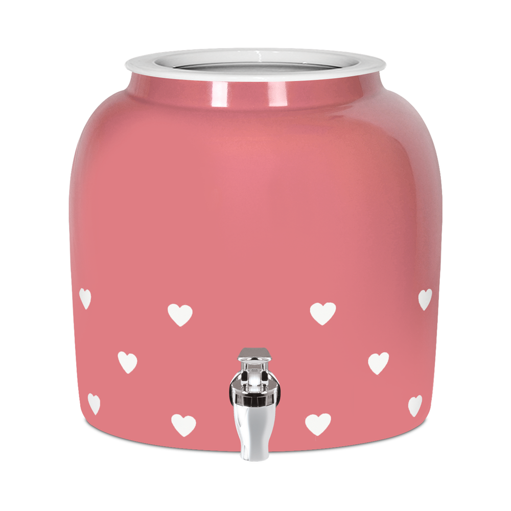 Porcelain Water Crock with Heart Design