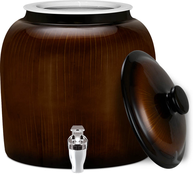 Brio Ceramic Water Crock w/ Matching Lid, Vertical Bronze Stripe