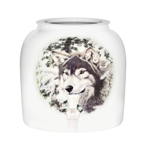 Winter Wolf Porcelain Water Crock