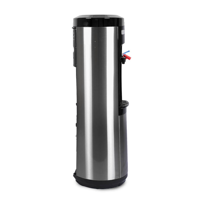Hot and Cold Filtered Water Dispenser Cooler POU, Black and Stainless Steel, Brio Signature