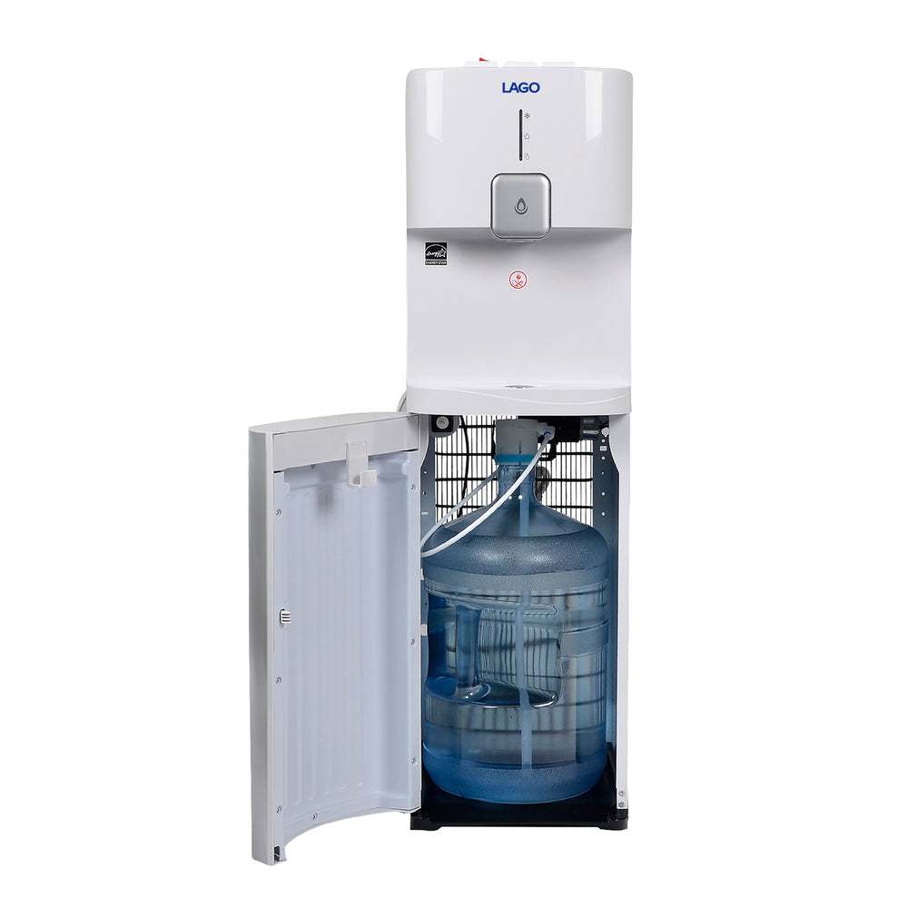 Hot Cold and Room Temp Water Dispenser Cooler Bottom Load, Tri Temp, White and Brush Stainless Steel, Lago