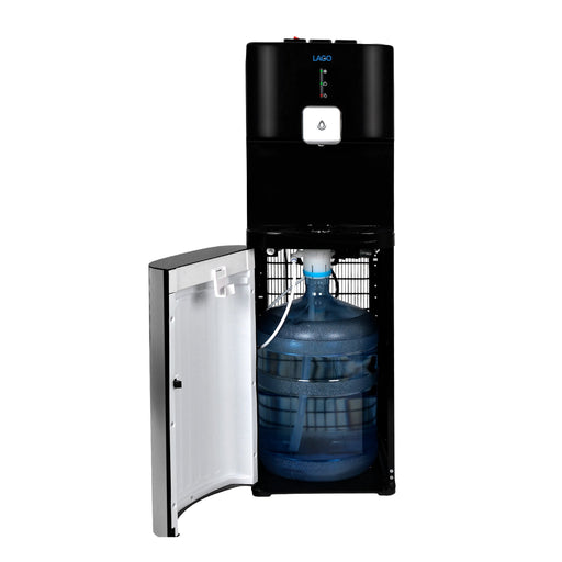 Hot Cold and Room Temp Water Dispenser Cooler Bottom Load, Tri Temp, Black and Brush Stainless Steel, Lago