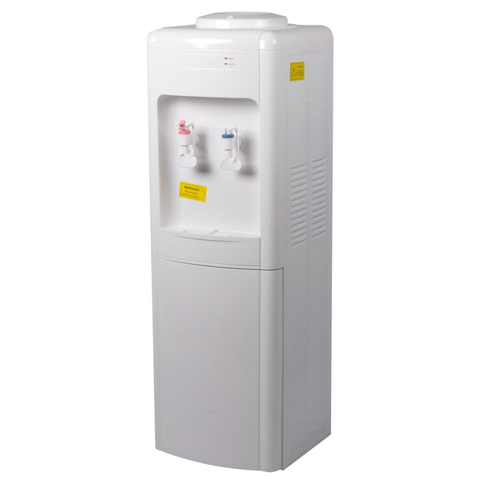 White Hot & Cold Dispenser W/ Cold Refridgerator Cabinet, W/ Compressor