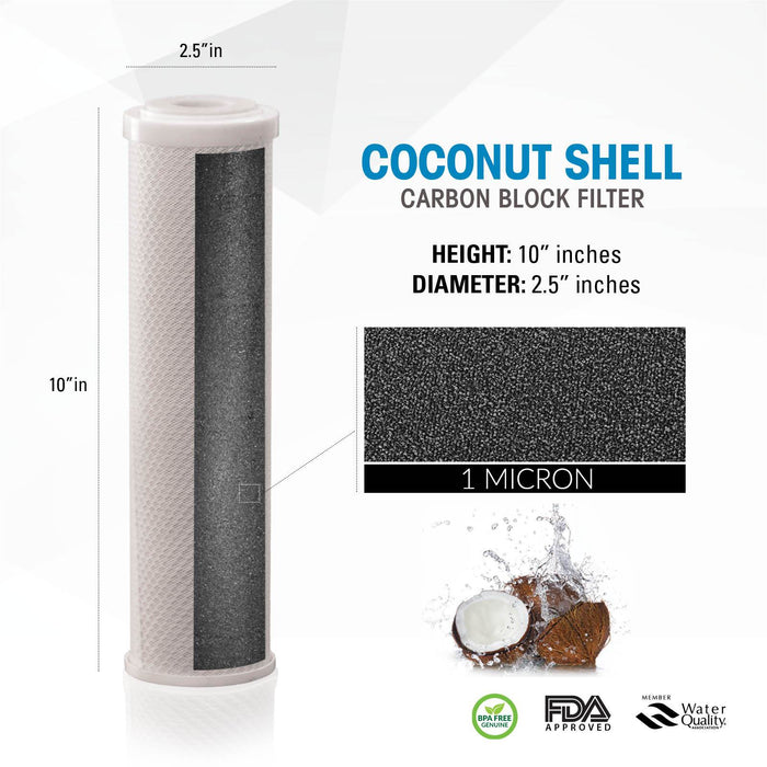 "Brio Legacy 1 Micron, 2.5"" X 10"" Coconut Shell Carbon Block Filter"