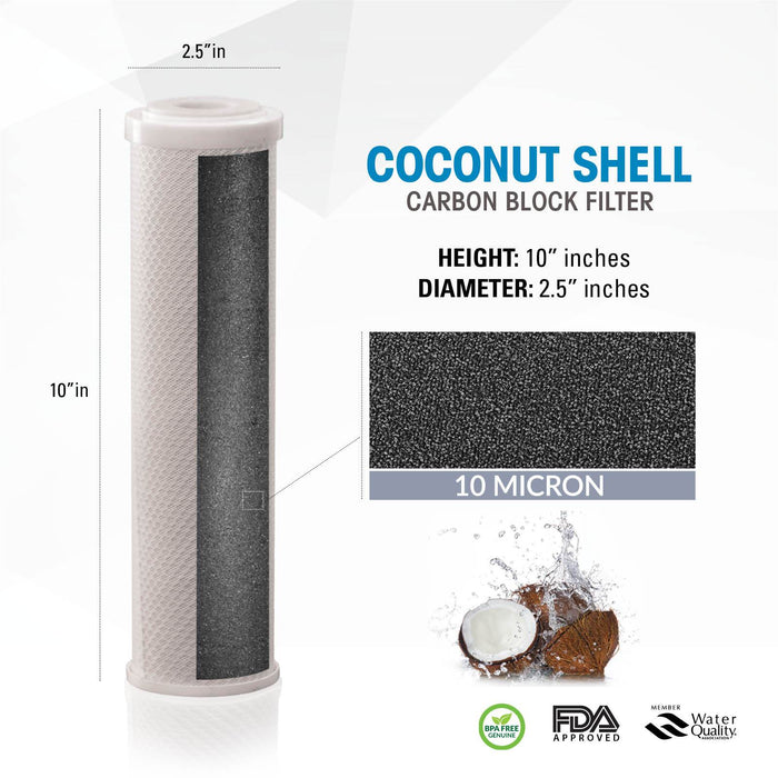 "Brio Legacy 10 Micron, 2.5"" X 10"" Coconut Shell Carbon Block Filter for RO System"