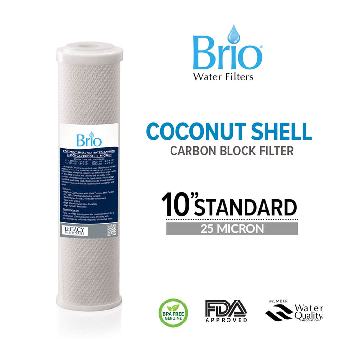 "Brio Legacy 25 Micron, 2.5"" X 10"" Coconut Shell Carbon Block Filter for RO System"