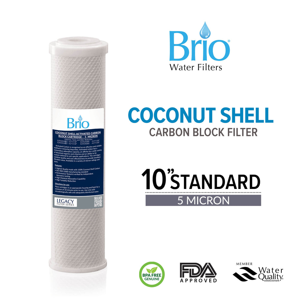"Brio Legacy 5 Micron, 2.5"" X 10"" Coconut Shell Carbon Block Filter for RO System"
