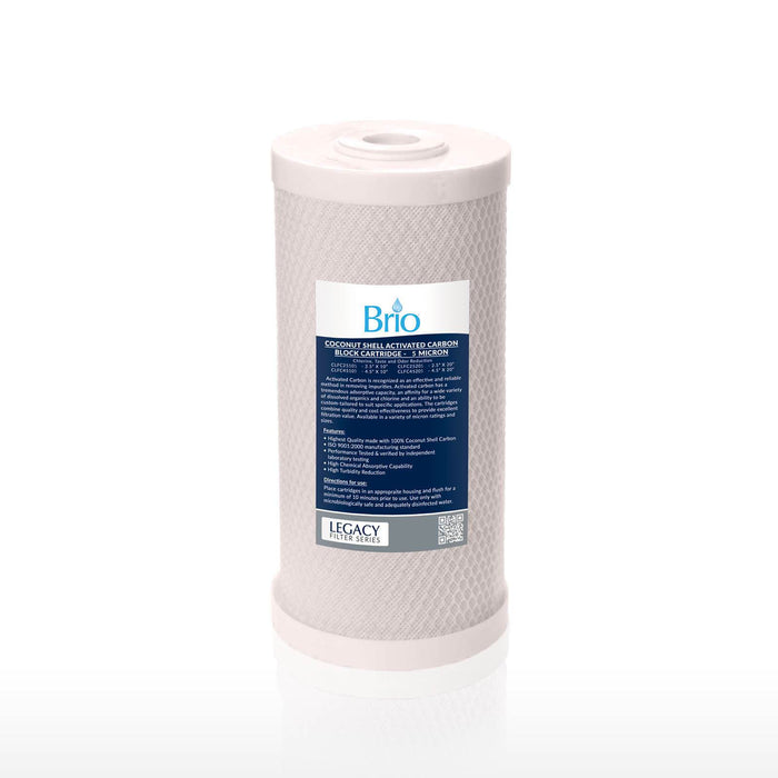 "Brio Legacy 1 Micron, 4.5"" X 10"" Big Blue Coconut Shell Carbon Block Filter"