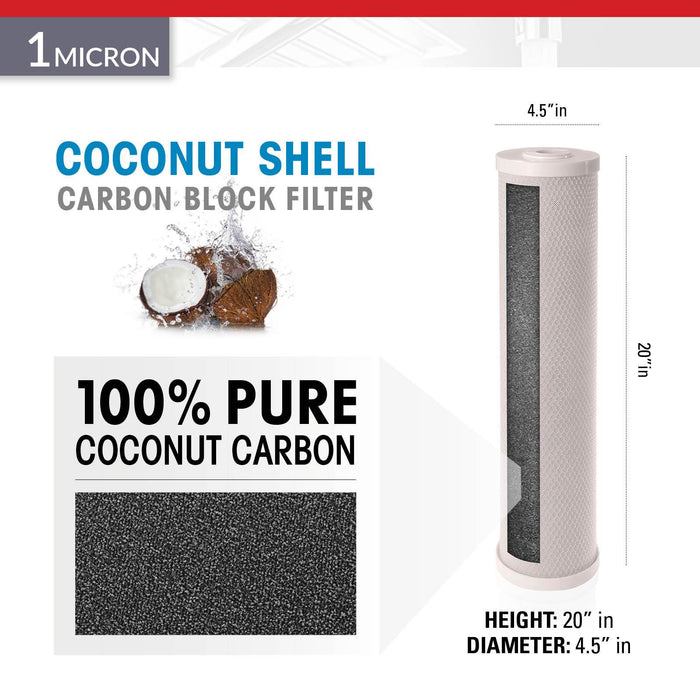"Brio Legacy 1 Micron, 4.5"" X 20"" Big Blue Coconut Shell Carbon Block Filter"
