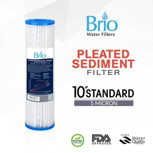 "Brio Legacy 5 Micron, 2.5"" X 10"" Pleated Sediment Pp Filter"