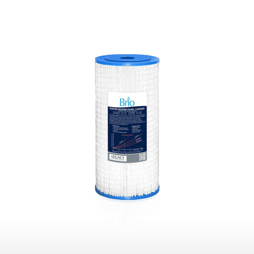 "Brio Legacy 5 Micron, 4.5"" X 10"" Pleated Sediment Filter Replacement"