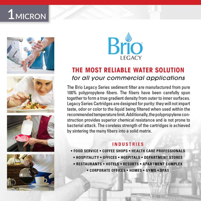 "Brio Legacy 1 Micron, 2.5"" x 20"" Sediment Pp Filter Replacement"