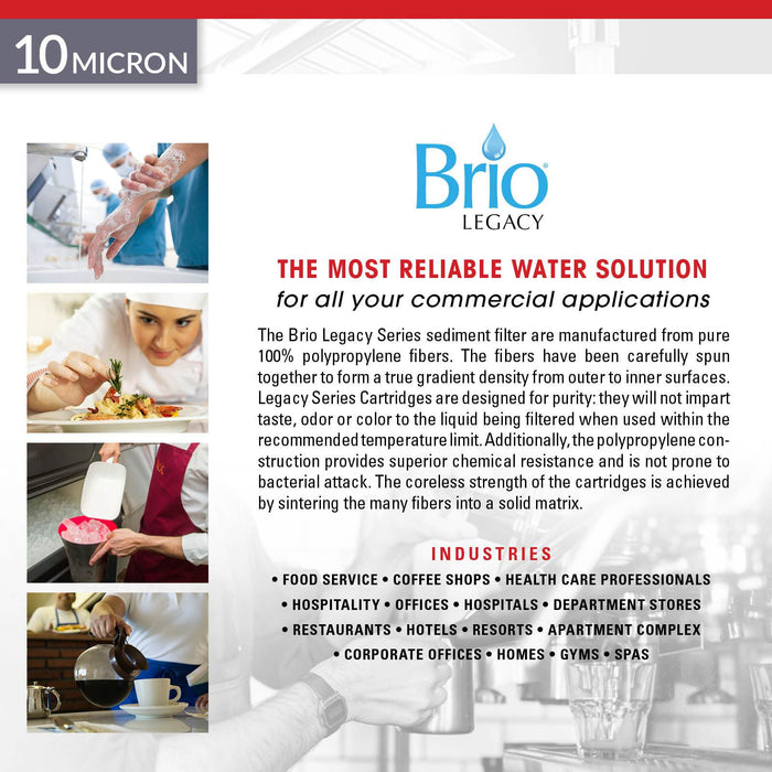 "Brio Legacy 10 Micron, 4.5"" x 20"" Sediment Pp Filter Replacement"