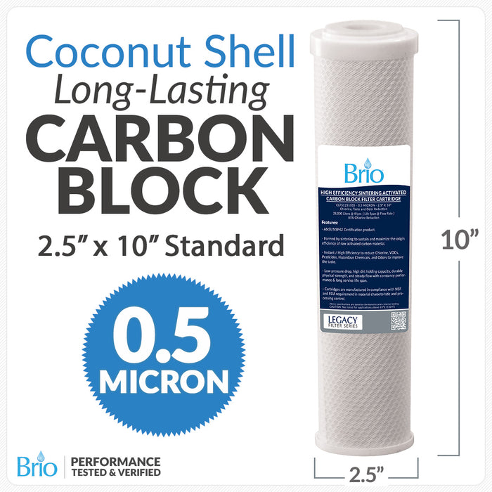 "Brio Legacy 0.50 Micron, 2.5"" X 10"" Coconut Carbon Filter for Residential RO System"