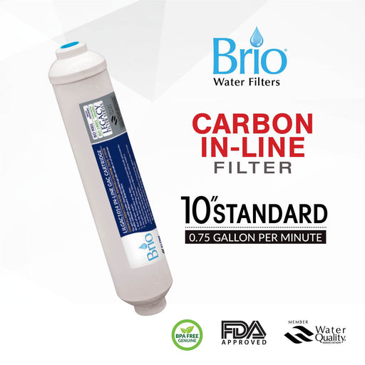 "Brio Legacy 2.5"" X 10"" Coconut Shell Carbon Inline Filter with 1/4 Quick Fit"